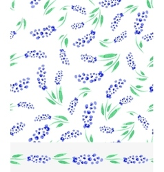 Watercolor blue muscari flowers seamless pattern vector