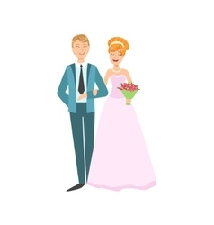 Red head bride and groom newlywed couple in pink vector