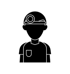 silhouette doctor with head mirror and uniform vector image