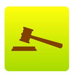 justice hammer sign  brown icon at green vector image