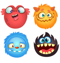 Cartoon funny monsters set vector