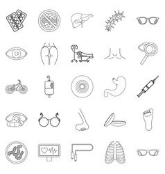 Cure oneself icons set outline style vector