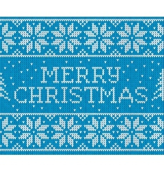 Blue knitted seamless pattern with sign merry vector
