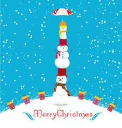 Merry christmas card with snowmans and umbrella vector