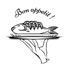 Bon Appetit fish design element vector image