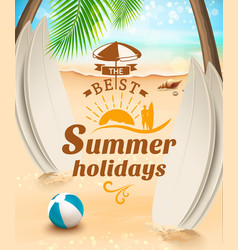 Summer holidays background surfing beach vector