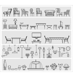 Icons of interior elements vector