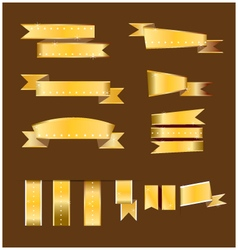 Gold banner and gold ribbon vector