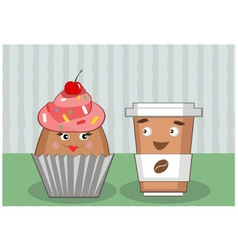 Coffee and cupcake vector
