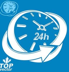 Elegant 3d round 24 hours clock around-the-clock vector