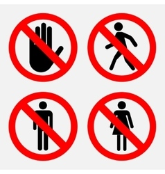 set of prohibition signs the passage vector image