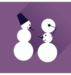 Flat icon with long shadow Snowman in hat Royalty Free Vector Image ...