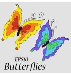 Beautiful butterflies of different colors vector