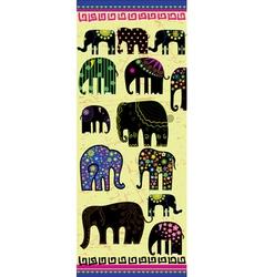 Set of decorative elephants vector image