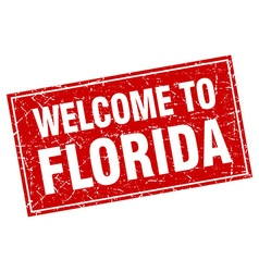 Florida red square grunge welcome to stamp vector