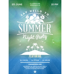Summer beach party flyer or poster summer night vector