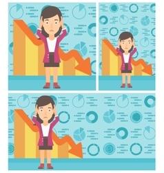 Bankrupt clutching her head vector image vector image