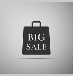 big sale bag icon on grey background vector image