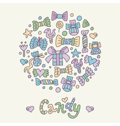candy greeting card vector image