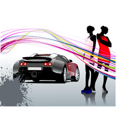 Car sedan and two girls composition vector