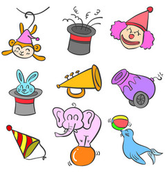 Circus object set of doodles vector