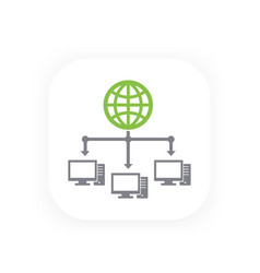 Computer network and internet icon vector