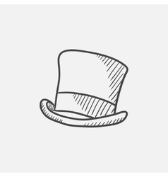 Cylinder hat sketch icon vector image vector image