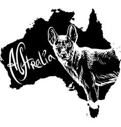 Dingo on map of australia vector