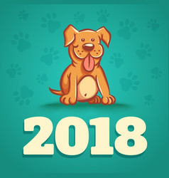 Dog is 2018 new years symbol vector