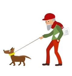 Elderly man walking with his dog vector