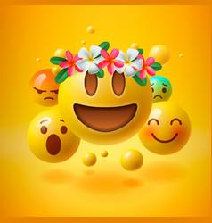 Emoji with wreath flowers on head vector