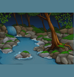 Forest scene with waterfall and trees at night vector