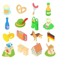 Germany icons set isometric 3d style vector