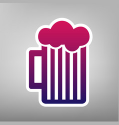 Glass of beer sign purple gradient icon vector