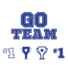 Go team text and sports icons set vector
