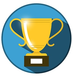 Gold win trophy cup icon on blue circle flat vector