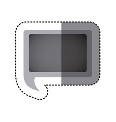 Grayscale sticker of rectangular speech with tail vector