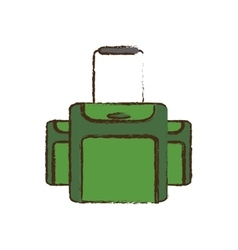 Green luggage travel equipment color sketch vector