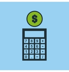 Hand putting calculator finance money vector