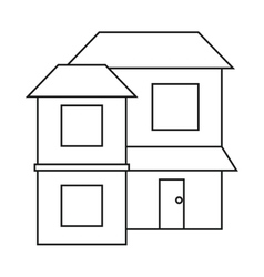 home two floor out windows brown roof outline vector image vector image