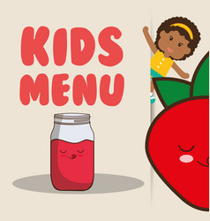 Kids menu girl juice strawberry nutrition poster vector
