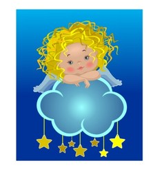 Little angel on a cloud vector image