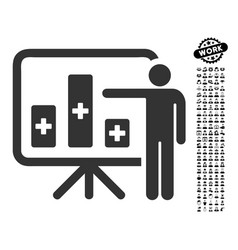 Medical public report icon with job bonus vector