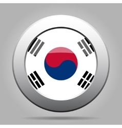 Metal button with flag of south korea vector