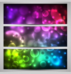 set of banner with bokeh on colorful flashes vector image
