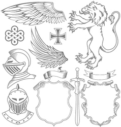 set of knight heraldic elements vector image vector image