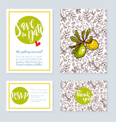 Set of wedding cards invitations for a vector