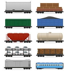 set railway carriage 02 vector image vector image