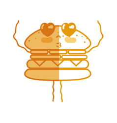 Silhouette kawaii cute tender humburger food vector