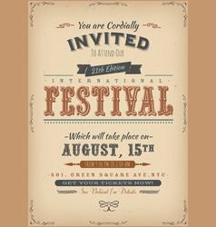 Vintage festival invitation poster vector